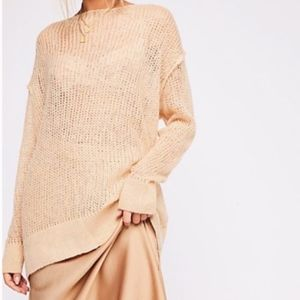 Free People Transparent Crew Sweater tunic Mohair